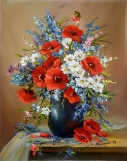 Picturi cu flori BUCHET CU MACI SI FLORI DE CIMP