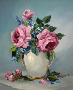 Picturi cu flori BUCHET CU  NU MA UITA