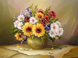 Picturi cu flori BUCHET  DE AUGUST (2)