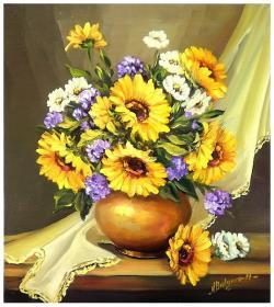 Picturi cu flori BUCHETUL BUNICII