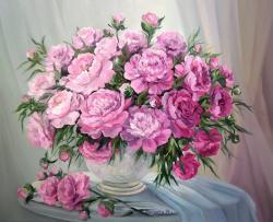 Picturi cu flori BUJORI DIAFANI