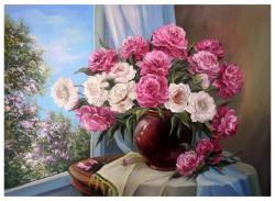 Picturi cu flori Bujori in fereastra