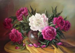 Picturi cu flori BUJORI RUBINII