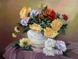 Picturi cu flori CRIZANTEME COLORATE CU TOAMNA (2)