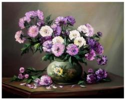 Picturi cu flori Dedicatie in violet