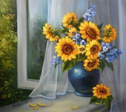 Picturi cu flori FEREASTRA CU FLORI