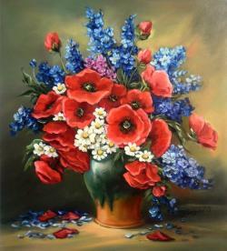 Picturi cu flori FLORI DE CIMP CU ANEMONE (1)