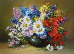 Picturi cu flori FLORI DE CIMP CU MARGARETE 2