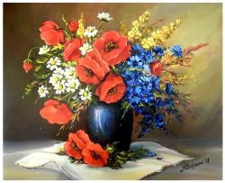 Picturi cu flori FLORI DE CIMP IN VAS ALBASTRU