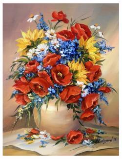 Picturi cu flori FLORI DE CIMP INSORITE