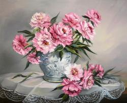 Picturi cu flori GINGASIE IN ROZ