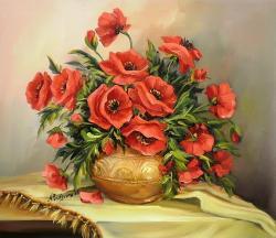 Picturi cu flori GLASTRA CU ANEMONE (2)