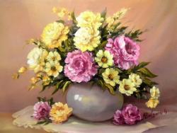 Picturi cu flori GLASTRA CU FLORI DE  GRADINA