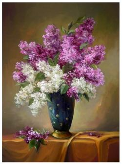 Picturi cu flori GLASTRA CU FLORI DE LILIAC