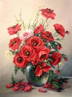 Picturi cu flori GLASTRA CU MACI