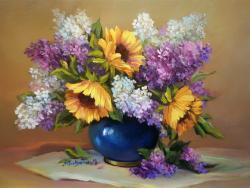 Picturi cu flori IN ACORD CROMATIC
