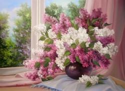 Picturi cu flori La fereastra cu liliac