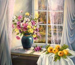 Picturi cu flori LA FEREASTRA CU TOAMNA