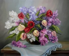 Picturi cu flori Lalele si liliac