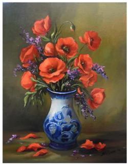 Picturi cu flori MACI CU BUSUIOC