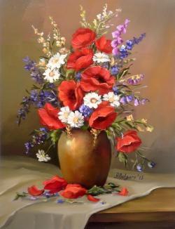 Picturi cu flori MACI NOSTALGICI