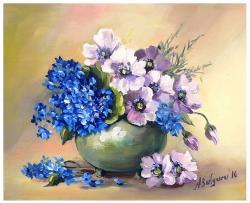 Picturi cu flori MARTISOR CU ALBASTRELE