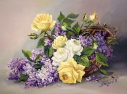 Picturi cu flori MARTISOR CU LILIAC (2)