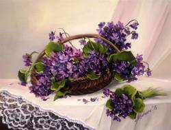Picturi cu flori MARTISOR CU TOPORASI (2)