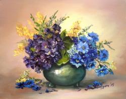 Picturi cu flori MARTISOR CU TOPORASI SI ALBASTRELE