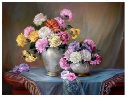 Picturi cu flori PASTEL INFLORIT IN  TOAMNA