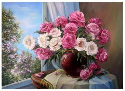 Picturi cu flori PRIMAVARA IN FEREASTRA