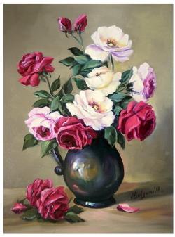 Picturi cu flori ROZE BICOLORE