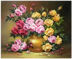 Picturi cu flori ROZE IN AURIU