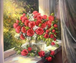 Picturi cu flori TOAMNA TRANDAFIRILOR