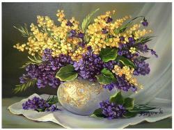Picturi cu flori TOPORASI  SI SINZIENE