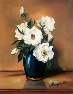 Picturi cu flori TRANDAFIRI ALBI IN VAS ALBASTRU