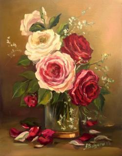 Picturi cu flori TRANDAFIRI IN ALB SI ROZ