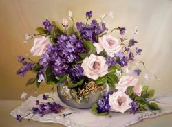 Picturi cu flori TRANDAFIRI SI TOPORASI