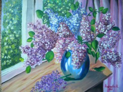 Picturi cu flori Buchet de liliac