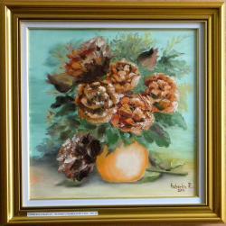 Picturi cu flori Bujori in vaza
