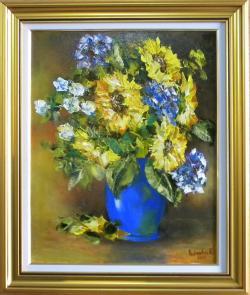 Picturi cu flori FLOAREA SOARELUI IN VAZA ALBASTRA