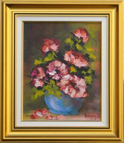 Picturi cu flori FLORI IN GHIVECI ALBASTRU