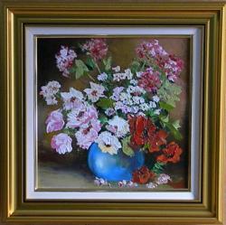 Picturi cu flori FLORI IN GHIVECI ALBASTRU 2