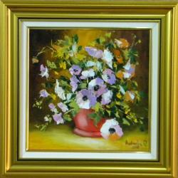 Picturi cu flori FLORI IN GHIVECI ROSU3