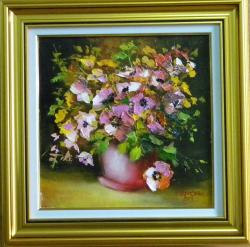 Picturi cu flori FLORI IN GHIVECI ROSU 2