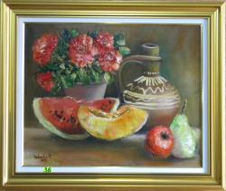 Picturi cu flori FRUCTE SI TRANDAFIRI