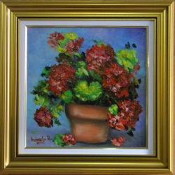 Picturi cu flori MUSCATE IN GHIVECI PORTOCALIU
