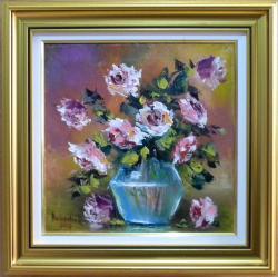 Picturi cu flori TRANDAFIRI IN BOL DE STICLA2