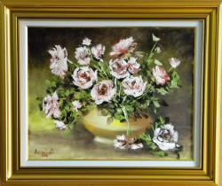 Picturi cu flori VAZA CU TRANDAFIRI ALBI