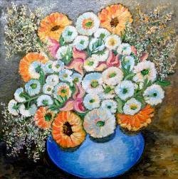 Picturi cu flori Flori in bol albastru